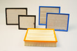 Extended surface pleated panel air filters