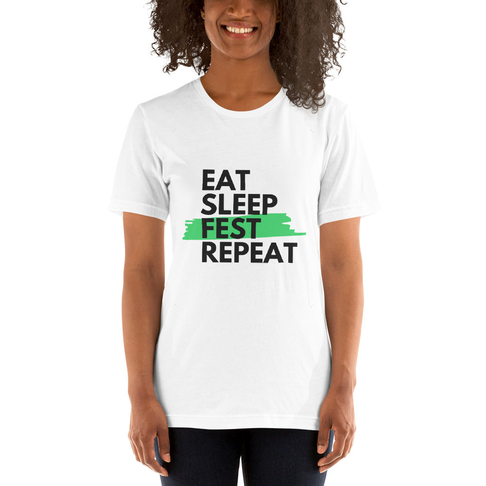 Eat Sleep Fest Repeat - Unisex Short Sleeve Jersey T-Shirt with Tear Away Label