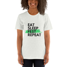 Load image into Gallery viewer, Eat Sleep Fest Repeat - Unisex Short Sleeve Jersey T-Shirt with Tear Away Label