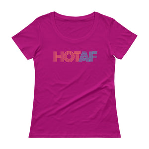 HOTAF Ladies Sheer Scoopneck T-Shirt with Tear Away Label