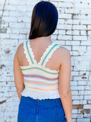 Verity Top - smocked cropped tank with multicolor stitching