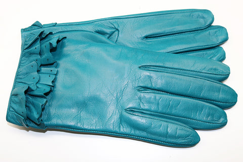SHORT RUFFLE LEATHER GLOVES
