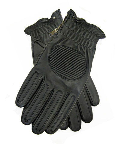 Men's quilted leather gloves with zipper