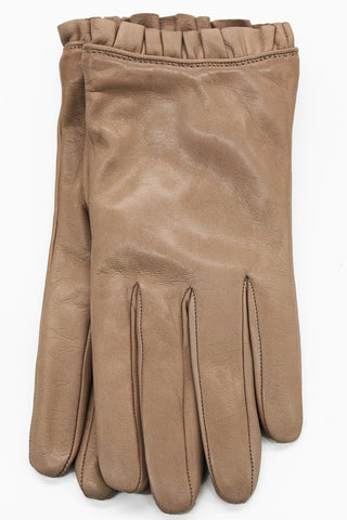RUFFLED CUFF LEATHER GLOVES