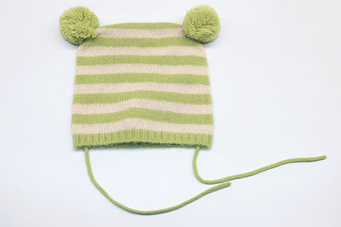 48ba31e602a STRIPED BABY HAT WITH SIDE POM POMS.  32.00.  45.00. You Save 29%. light  green ...