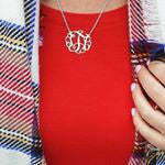 "Load image into Gallery viewer, 1"" LAUREN MONOGRAM NECKLACE, SILVER"