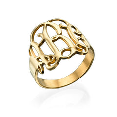 ELA MONGRAM RING, GOLD