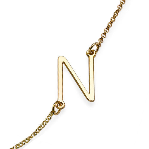 GRACE SIDEWAYS INITIAL NECKLACE, GOLD