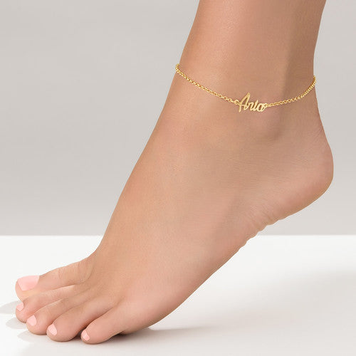 NAME ANKLET, GOLD