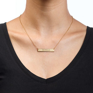 ALL CAPS ENGRAVED BAR NECKLACE, GOLD