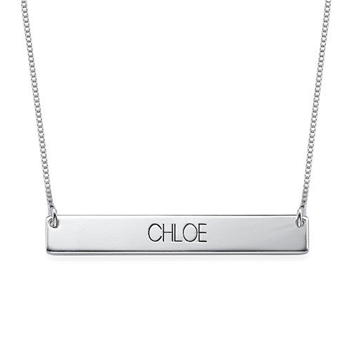 ALL CAPS ENGRAVED BAR NECKLACE, SILVER