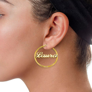 CARRIE NAME HOOP EARRINGS, GOLD