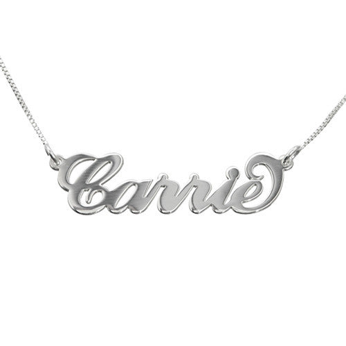 CARRIE NAME NECKLACE, DOUBLE STRENGTH 14KT SOLID WHITE GOLD
