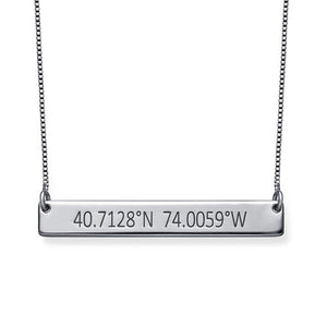 COORDINATES BAR NECKLACE, SILVER