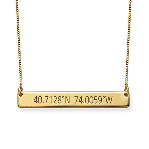COORDINATES BAR NECKLACE, GOLD