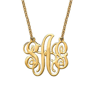 BLAIR MONOGRAM NECKLACE, GOLD