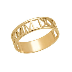 CUT OUT ROMAN NUMERAL RING, GOLD