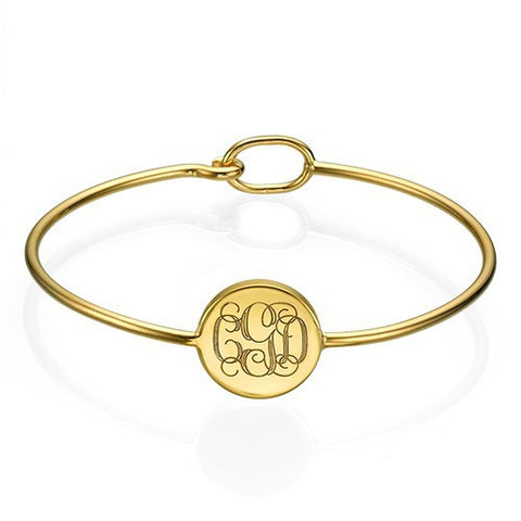 ROUND MONOGRAM BANGLE BRACELET, GOLD