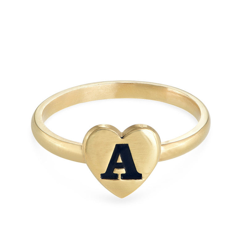 HEART INITIAL RING, GOLD