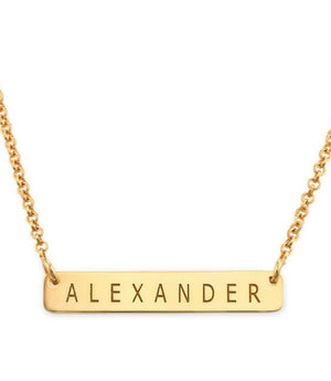 PETITE BAR NAME NECKLACE, GOLD