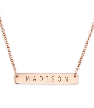 PETITE BAR NAME NECKLACE, ROSE