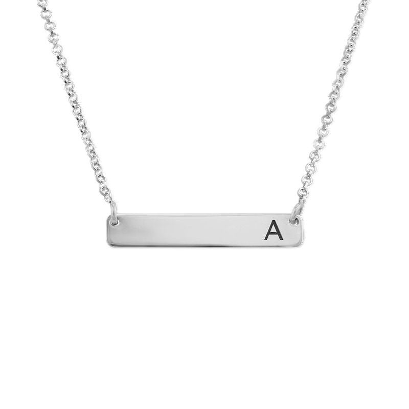 PETITE INITIAL BAR NECKLACE, SILVER