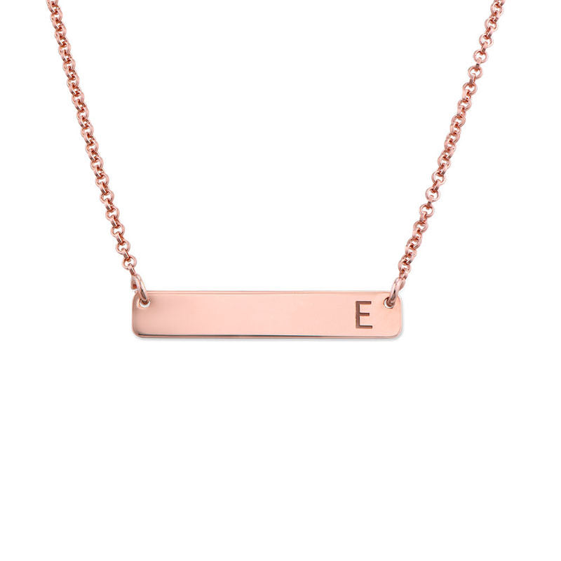 PETITE INITIAL BAR NECKLACE, ROSE GOLD