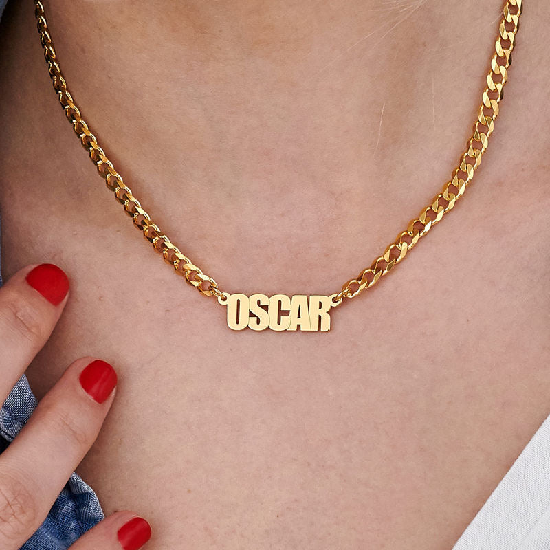 CHUNKY NAME NECKLACE, GOLD