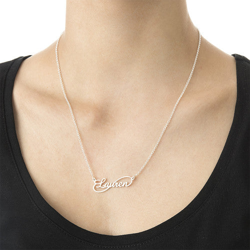 INFINITY NAME NECKLACE, SILVER