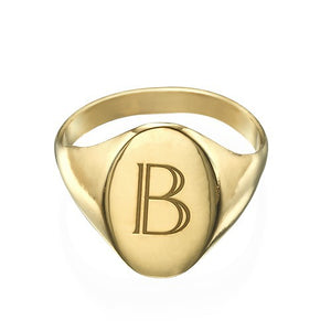 DEVON INITIAL SIGNET RING, GOLD