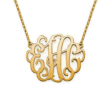 "Load image into Gallery viewer, 1"" LAUREN MONOGRAM NECKLACE, GOLD"