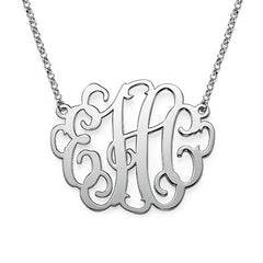 "1.5"" LAUREN MONOGRAM NECKLACE, SILVER"