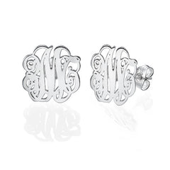 SCRIPT MONOGRAM STUD EARRINGS, SILVER