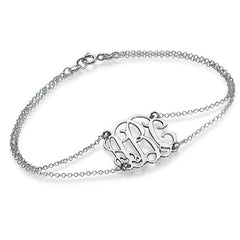 DOUBLE CHAIN MONOGRAM BRACELET, SILVER