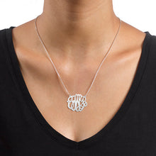 "Load image into Gallery viewer, 1"" NICOLE MONOGRAM NECKLACE, SILVER"