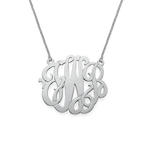 "1"" NICOLE MONOGRAM NECKLACE, SILVER"
