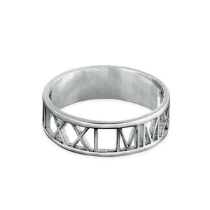 CUT OUT ROMAN NUMERAL RING, SILVER