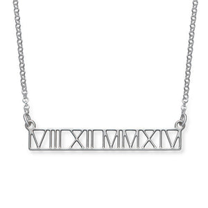 ROMAN NUMERAL CUT OUT BAR NECKLACE