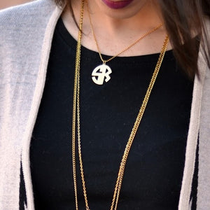 EMERY BLOCK MONOGRAM NECKLACE, GOLD