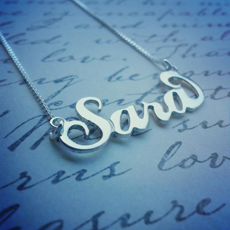 CARRIE NAME NECKLACE, SILVER