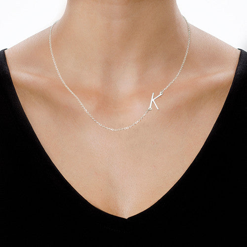 GRACE SIDEWAYS INITIAL NECKLACE, SILVER