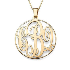 FRAMED MONOGRAM NECKLACE, 14KT SOLID GOLD