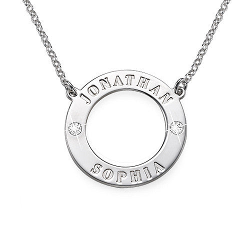HARPER CIRCLE SWARVOSKI CRYSTAL NECKLACE, SILVER