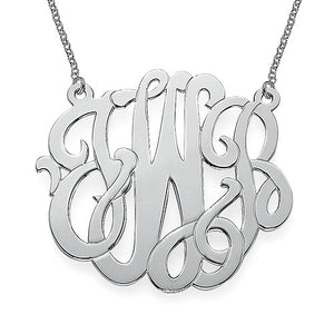 "2"" NICOLE MONOGRAM NECKLACE, SILVER"