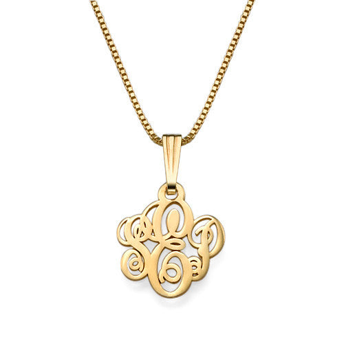 XS Script Monogram Necklace, Gold