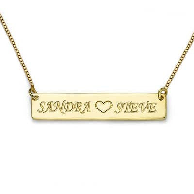 HEART ENGRAVED BAR NECKLACE, GOLD