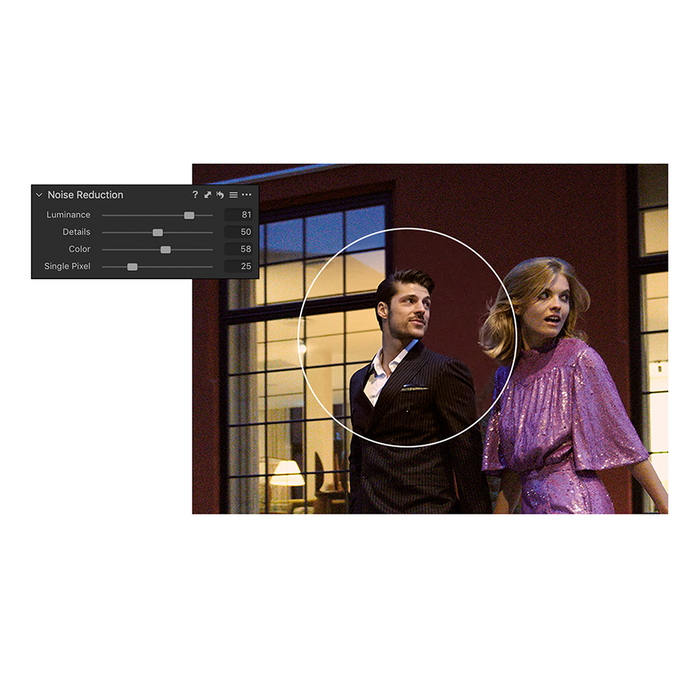 The Capture One Pro 20 Noise Reduction tool editing greater depth and detail onto a low-light image of a couple leaving a party at night.
