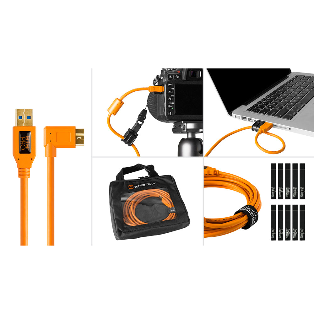 Tether Tools Starter Tethering Kit - TetherPro USB 3.0 to Micro-B Right Angle, 15' (4.6m), High-Visibility Orange