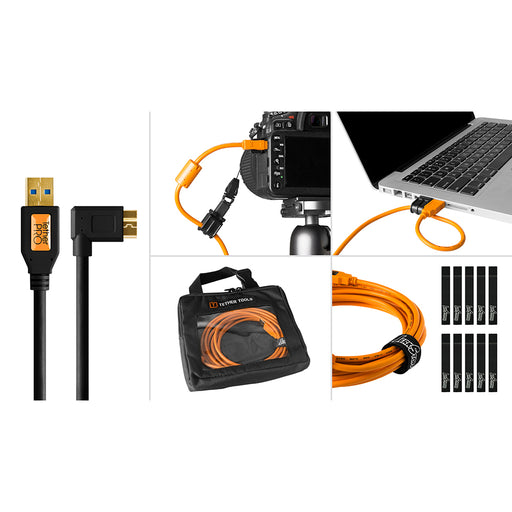 Tether Tools Starter Tethering Kit - TetherPro USB 3.0 to Micro-B Right Angle, 15' (4.6m), Black