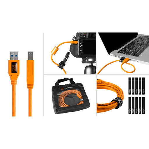 Tether Tools Starter Tethering Kit - TetherPro USB 3.0 to Male B, 15' (4.6m), High-Visibility Orange